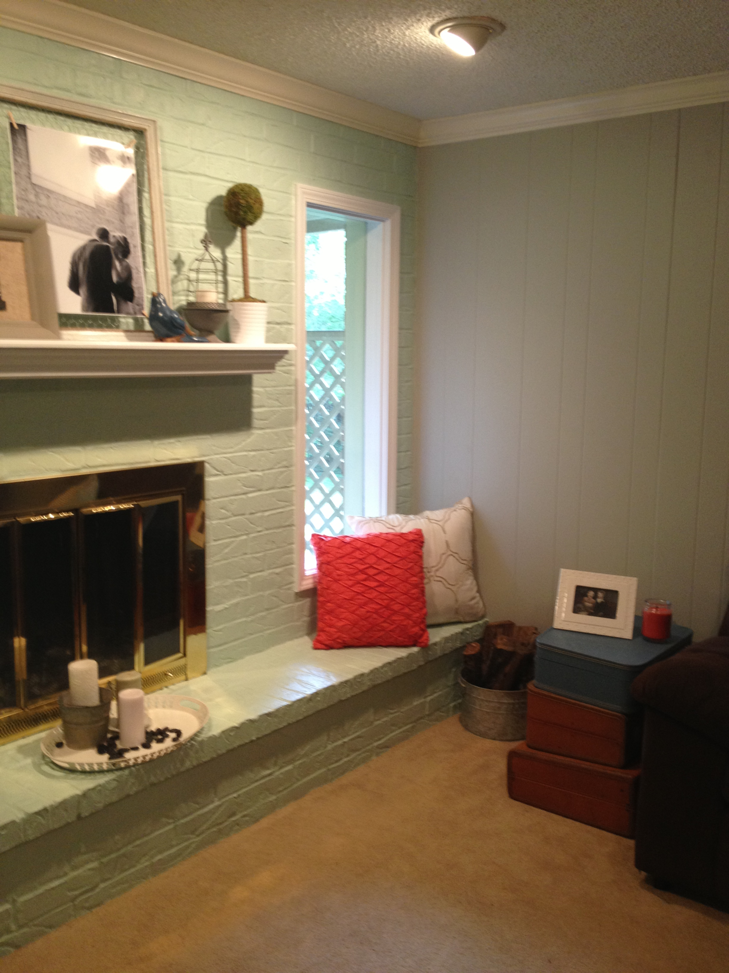 new house brick fireplace window seats all things new interiors