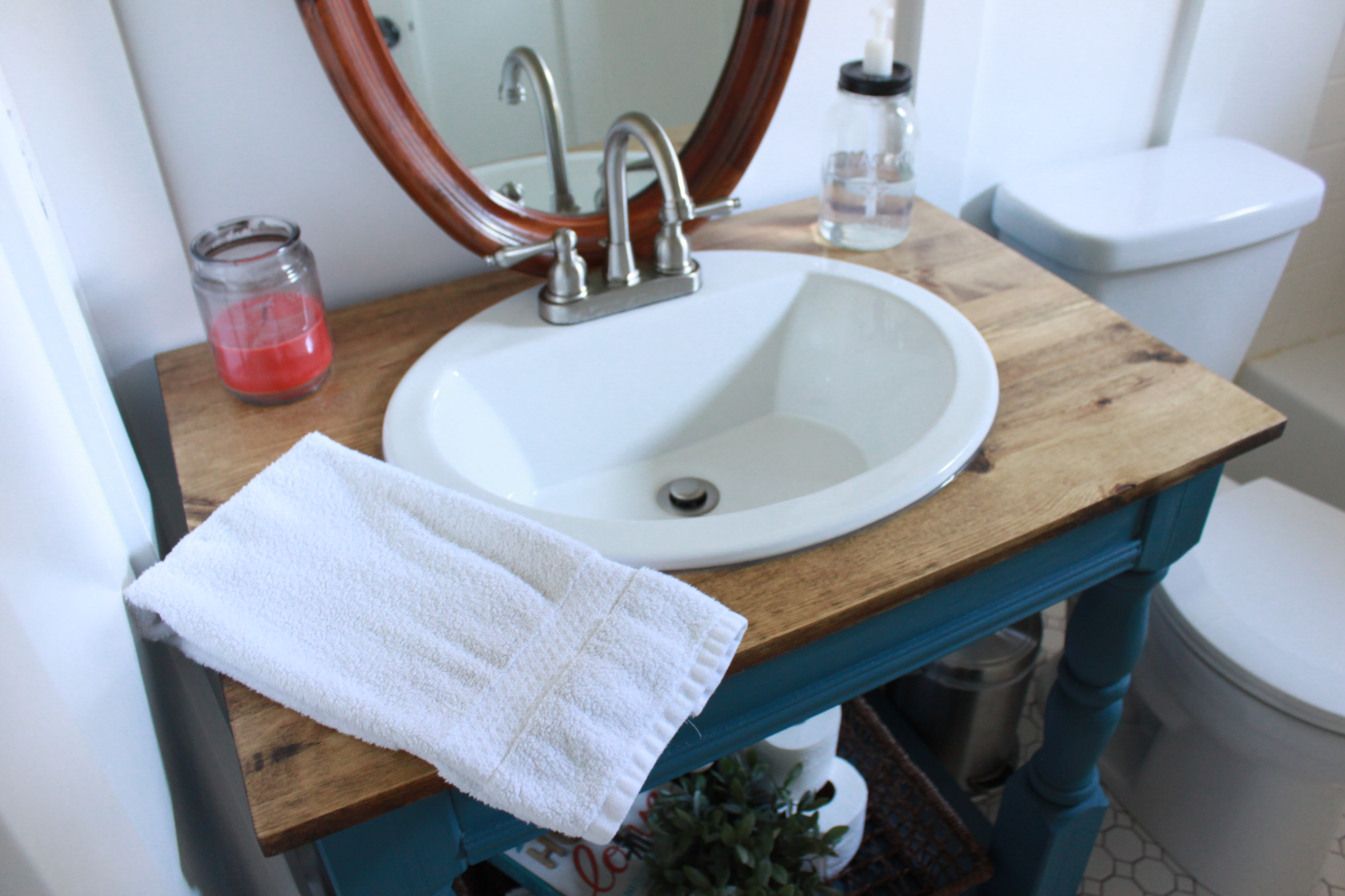 Guest Bathroom: How To Build a Farmhouse Vanity | All Things New ...