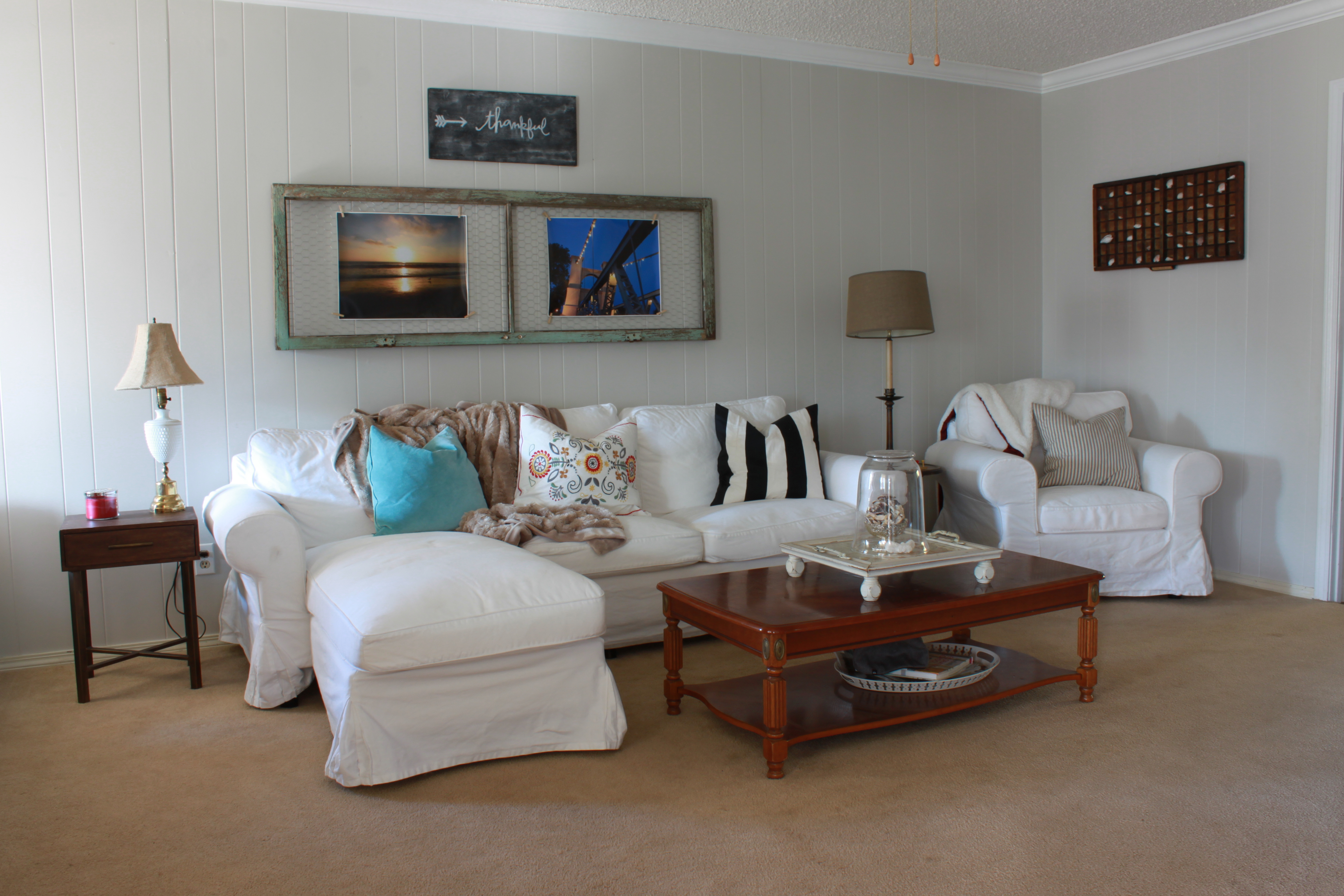 It makes such a difference in the room to have the white sofas  It really  brightens up the space and makes it feel more clean and modern. Switching Instead of Buying   All Things New Interiors